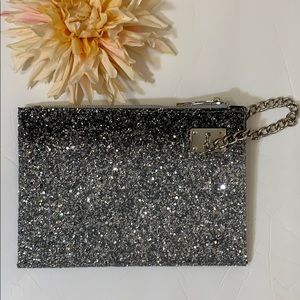 Sondra Roberts Squared Ombre Silver Glitter Clutch